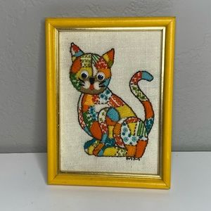 Vintage Calico Cat Hand Stitch Art Work Picture